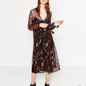 Zara sheer mesh floral embroidered dress